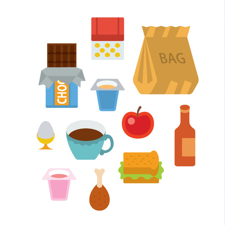 full color: breakfast - full color flat design icon vector illustartion - stylized perspective