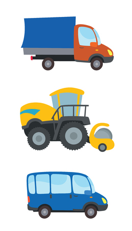 coupe: colorful cars in cartoon style vector - truck, tractor, bus
