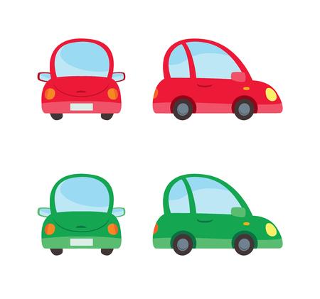 passenger car: bright passenger car in cartoon style vector Illustration