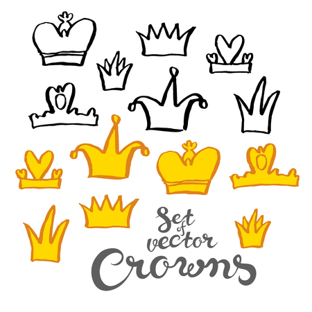 hand written: Hand drawing crowns set in naive style - vector illustration with exclusive hand written vector lettering