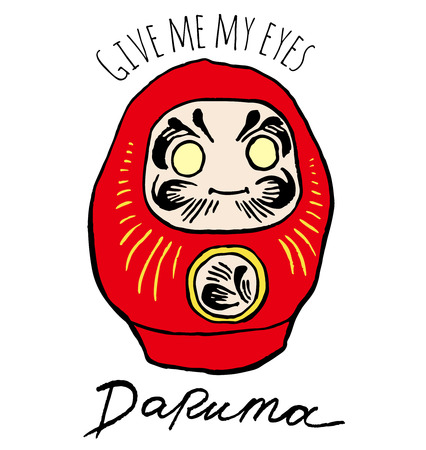 perseverance: Daruma doll - Dharma Japanese traditional doll, symbol of perseverance, popular gift, encouragement, temples, Buddhist monk, meditation - Vector hand drawing cartoon illustration