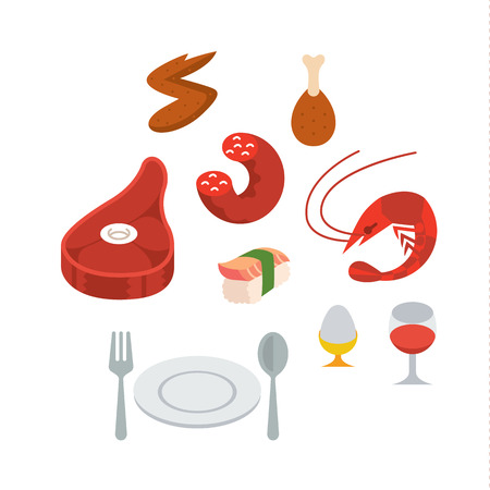 fried shrimp: protein food full color flat design icon vector illustartion - stylized perspective