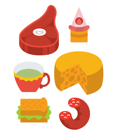 protein food: protein food full color flat design icon vector illustartion - stylized perspective