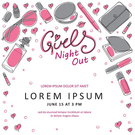 hour glass: Girls Night Out Party Invitation Card Design in Vector. You can design invitation cards, flyer, thank you card and so on. Girl theme design.