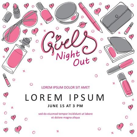 Girls Night Out Party uitnodigingskaart Design in Vector. U kunt het ontwerp uitnodigingskaarten, flyer, dank je kaart en ga zo maar door. Meisje thema design. Stock Illustratie