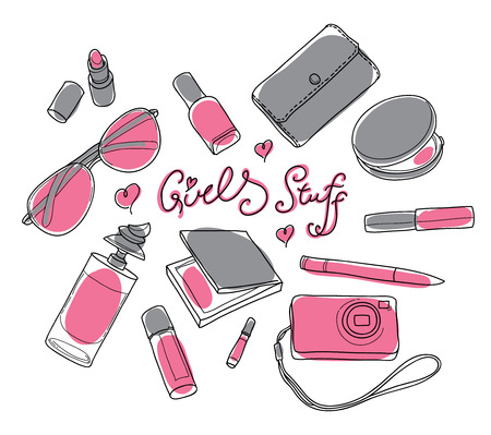 lip gloss: Gray and pink girly stuff - Lipstick, Sunglasses, Camera, Purse, Perfume, Powder, Pencil, Lip gloss, Nail polish, Blush. Set in vector Illustration