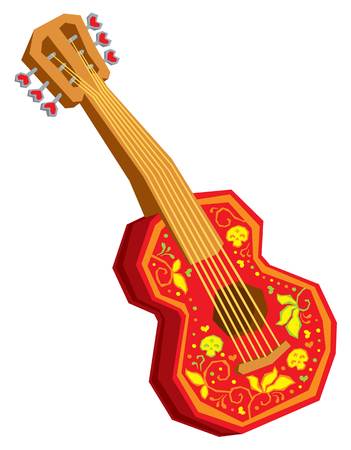 白い背景に分離された音響漫画ギター ベクトル