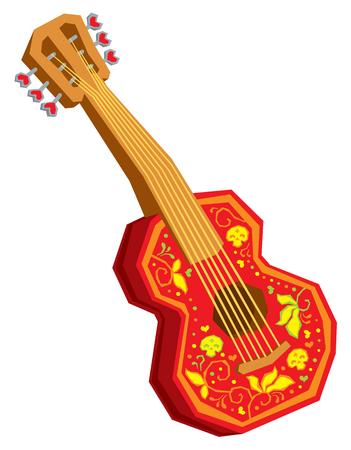 Akoestische gitaar cartoon vector op een witte achtergrond