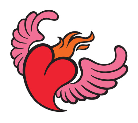 corazones: Burning flame heart with wings vector illustration Illustration
