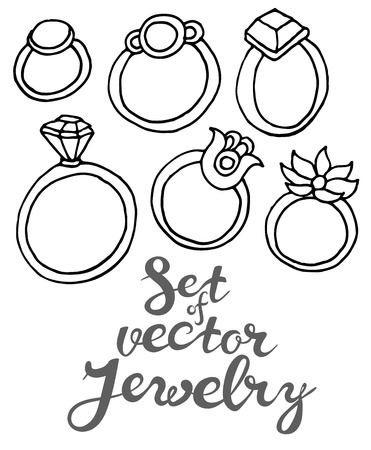naive: Vector hand drawing  set of jewelry rings in naive style
