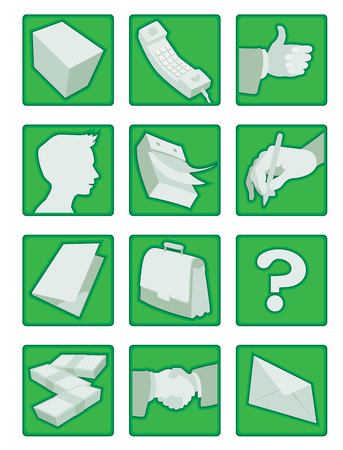 bundle of letters: Vector icons set for business in green