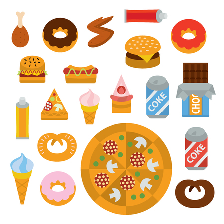delicious junk food full color flat design icon vector illustartion - stylized perspective