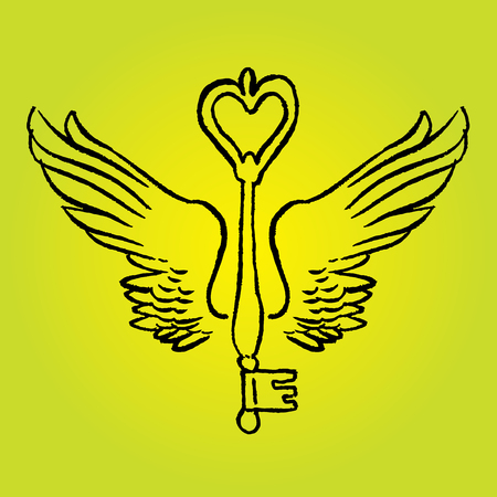 romantic: Key with romantic wings - vector hand drawing