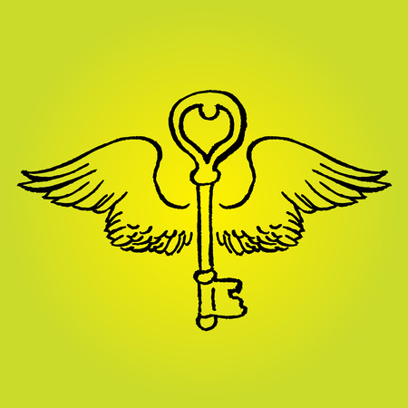 Key with romantic wings - vector hand drawing