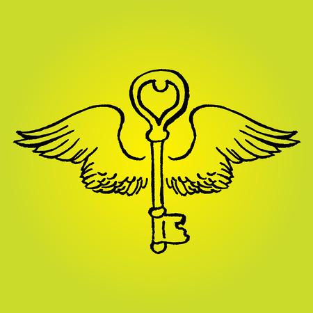 Key avec des ailes romantiques - dessin vectoriel main