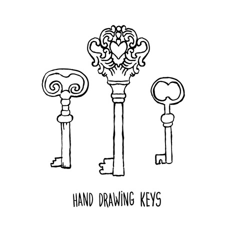 old fashioned: hand-drawn sketches of the keys to the old fashioned retro style