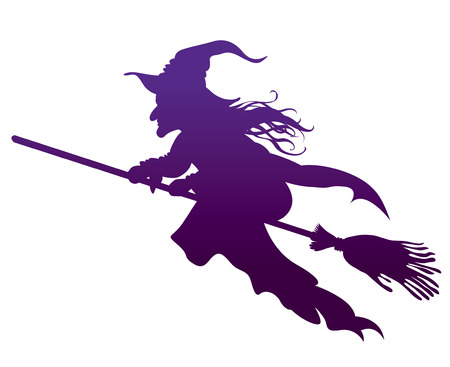 broomstick: silhouette of the Witch on a broomstick vector illustration