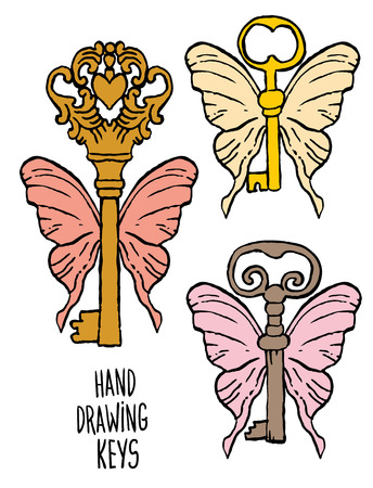 old padlock: hand-drawn sketches of the keys with butterfly wings to the old fashioned retro style Illustration