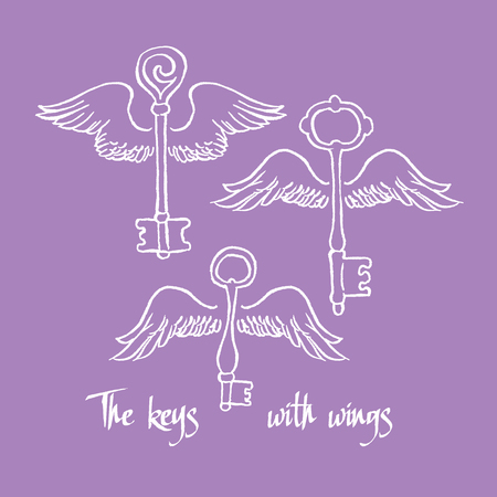 declaration of love: Keys with romantic wings - vector hand drawing Illustration