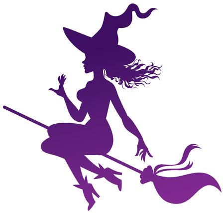silhouet van de heks op een bezemsteel Stock Illustratie
