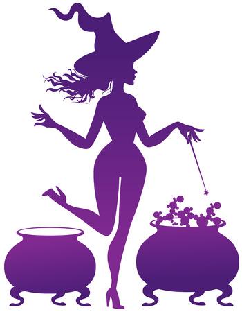 magic cauldron: silhouette of the Witch with magic cauldron