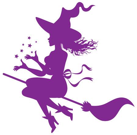 silhouette de la sorcière sur un balai Vecteurs