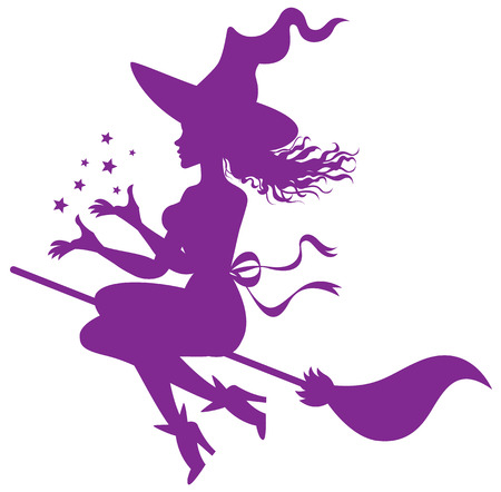 silhouette of the witch on a broomstick Ilustração