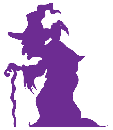 hunched: hunched old witch with a crooked stick and crow on his shoulder - cartoon halloween character