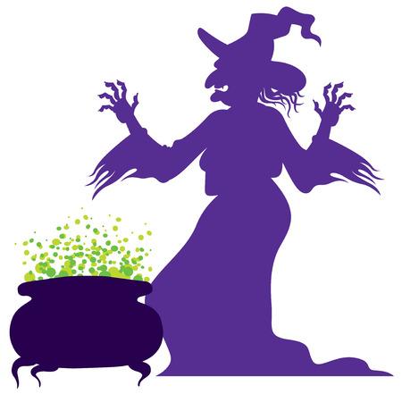 silhouet van de oude enge heks met magische ketel