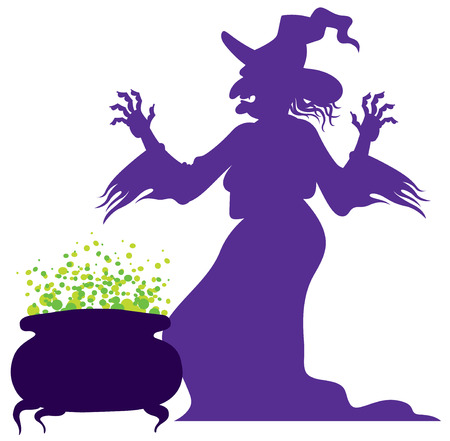 silhouette of the old scary witch with magic cauldron