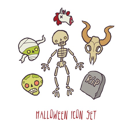 scull: Halloween vector scull and bones icons set