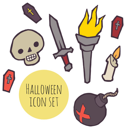Halloween spooky icons vector set for design Illustration
