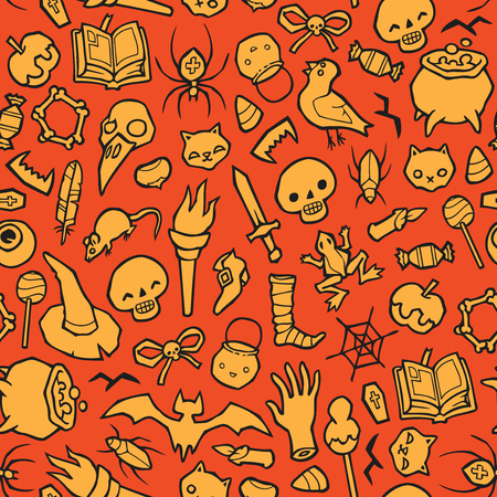 paper spell: Halloween object seamless vector background - pumpkins, skulls, spiders, candy - a lot of different thing. You can use it for package design, invitations, flyers, textile, postcards, cards and so on. Illustration