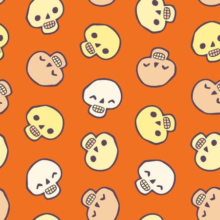 Halloween skull seamless vector background. You can use it for package design, invitations, flyers, textile, postcards, cards and so on. Ilustração