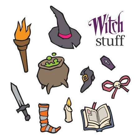 spells: Halloween witch vector set for design - witch, pot, knife, sock, candle, book, spells, bow, hat, shoes