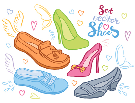 military draft: Collection of woman shoes hand drawn - vector set of sketch shoes