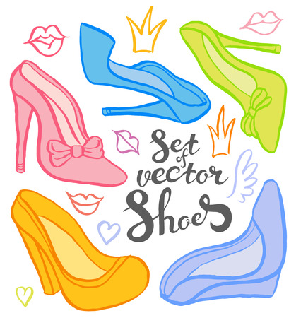 fashion shoes: Collection of woman shoes hand drawn - vector set of sketch shoes