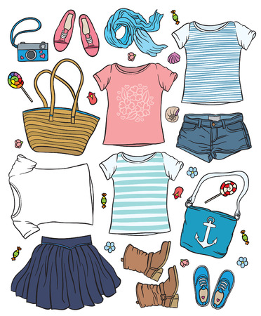 casual outfit - collection of summer clothes - fashion set of woman's summer clothes and accessories