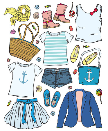 sundress: casual outfit - collection of summer clothes - fashion set of womans summer clothes and accessories