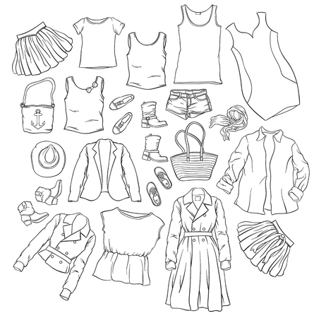 casual outfit - collection of summer clothes - fashion set of woman's summer clothes and accessories Vetores