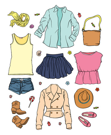casual outfit - collection of summer clothes - fashion set of womans summer clothes and accessories