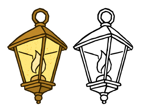 old fashioned: cute old fashioned lantern with a candle - vector isolated art for design Illustration