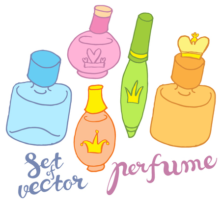 naive: hand draw vector perfume bottles in naive style with hand lettering Illustration
