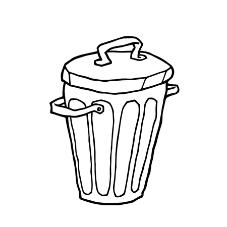 dumpster: trash can dumpster old hand drawing doodle like a tin bucket or basket - vector suitable for sketching and design
