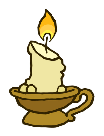 candle in old antique candlestick - vector drawing Illustration