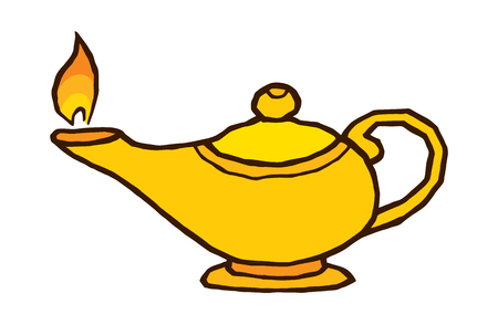 genie lamp: gold genie lamp - vector hand drawing