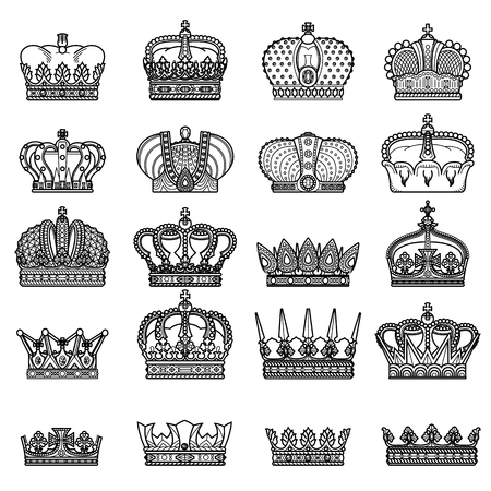royal person: Vector silhouette royal crown icon - big crown collection