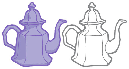 lunch room: Vector teapot - hand drawing illustration