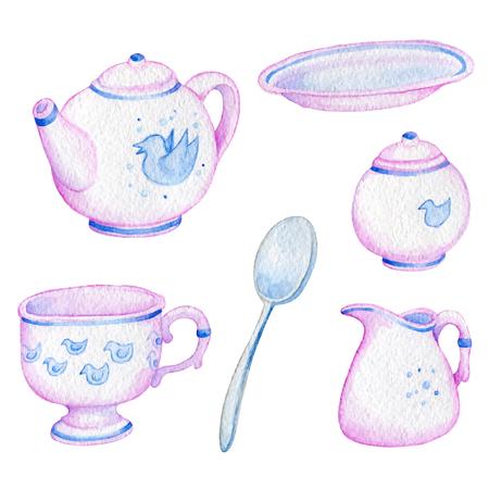 gravy: vector watercolor cup of tea spoon jar mug pitcher gravy boat pink and porcelain