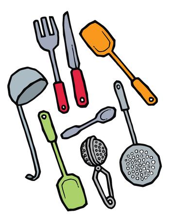 strainer: kitchenware - spoon ladle fork  knife spatula strainer - vector set Illustration